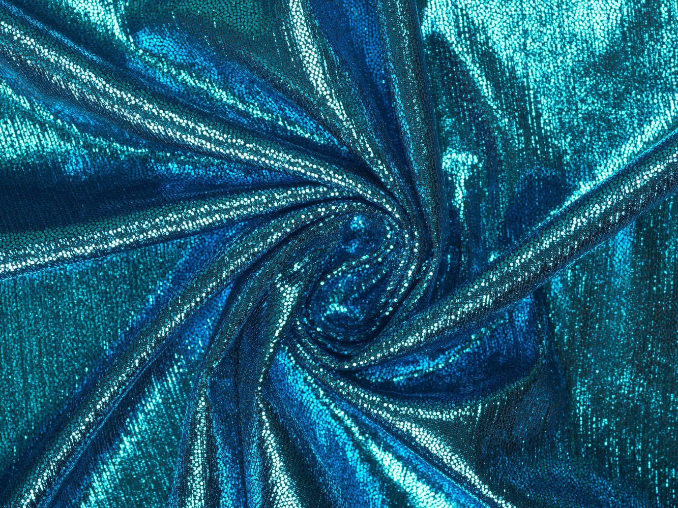 Трикотаж с напылением голубой